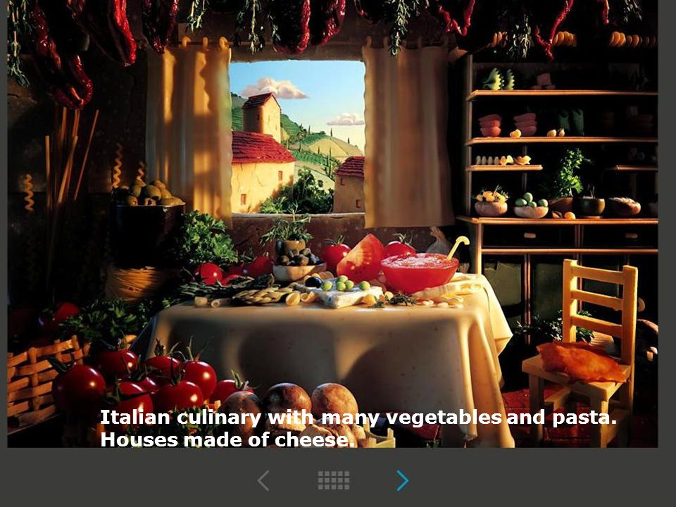 Italian culinary with many vegetables and pasta.