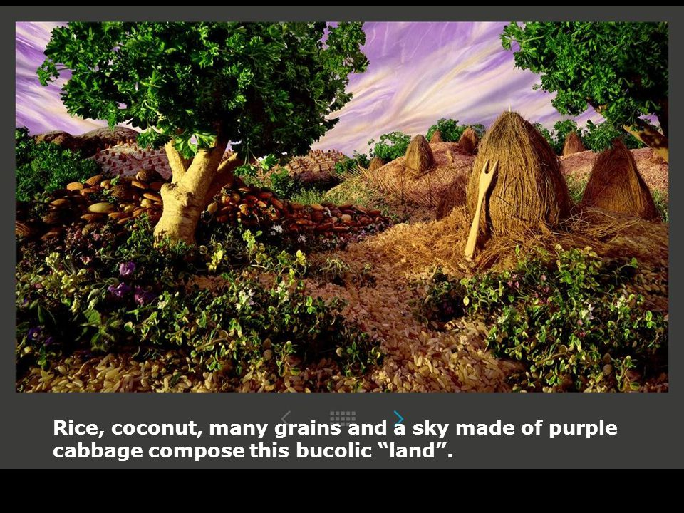 Rice, coconut, many grains and a sky made of purple