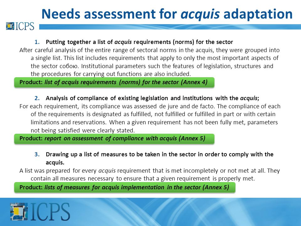 Needs assessment for acquis adaptation