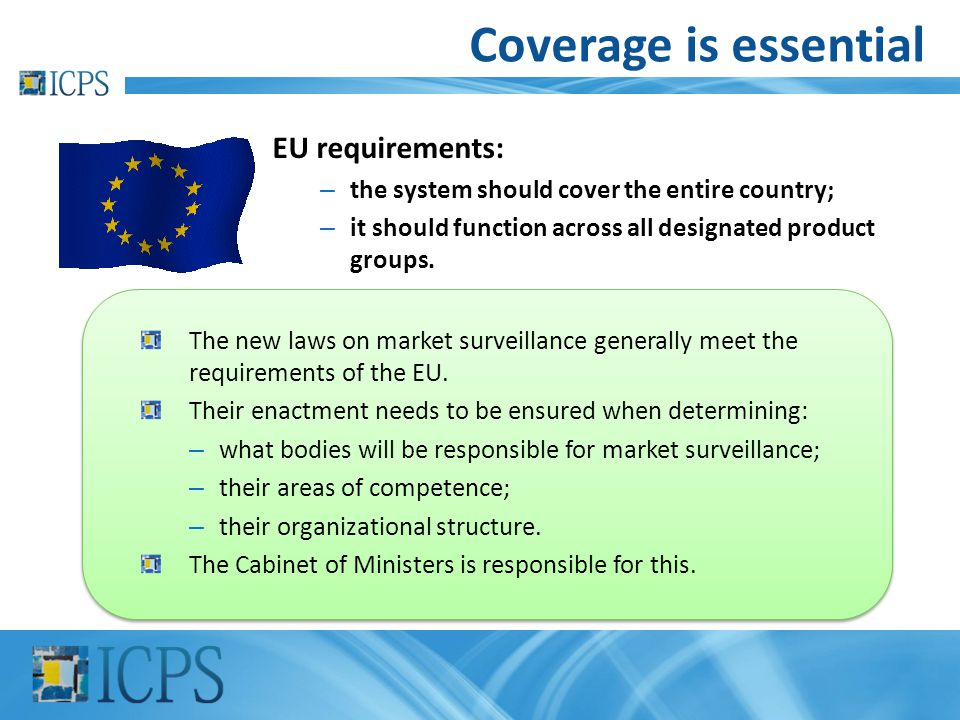 Coverage is essential EU requirements: