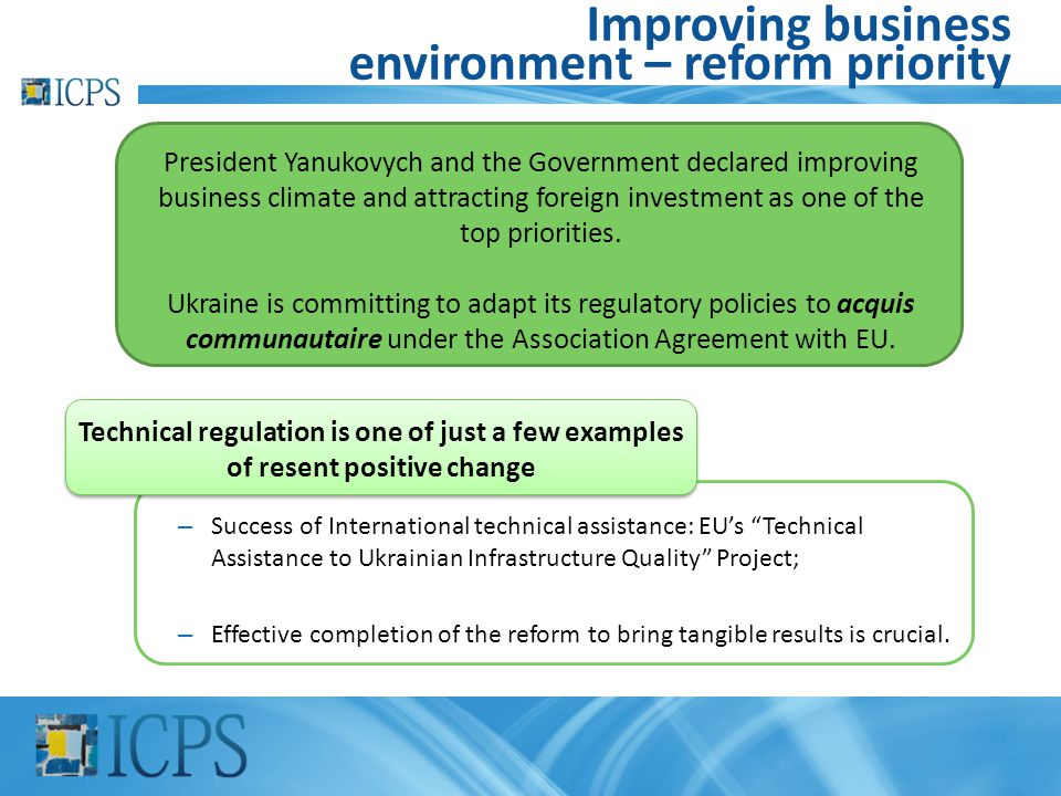 Improving business environment – reform priority