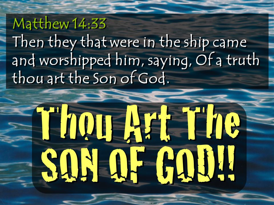 Matthew 14:33 Then they that were in the ship came and worshipped him, saying, Of a truth thou art the Son of God.