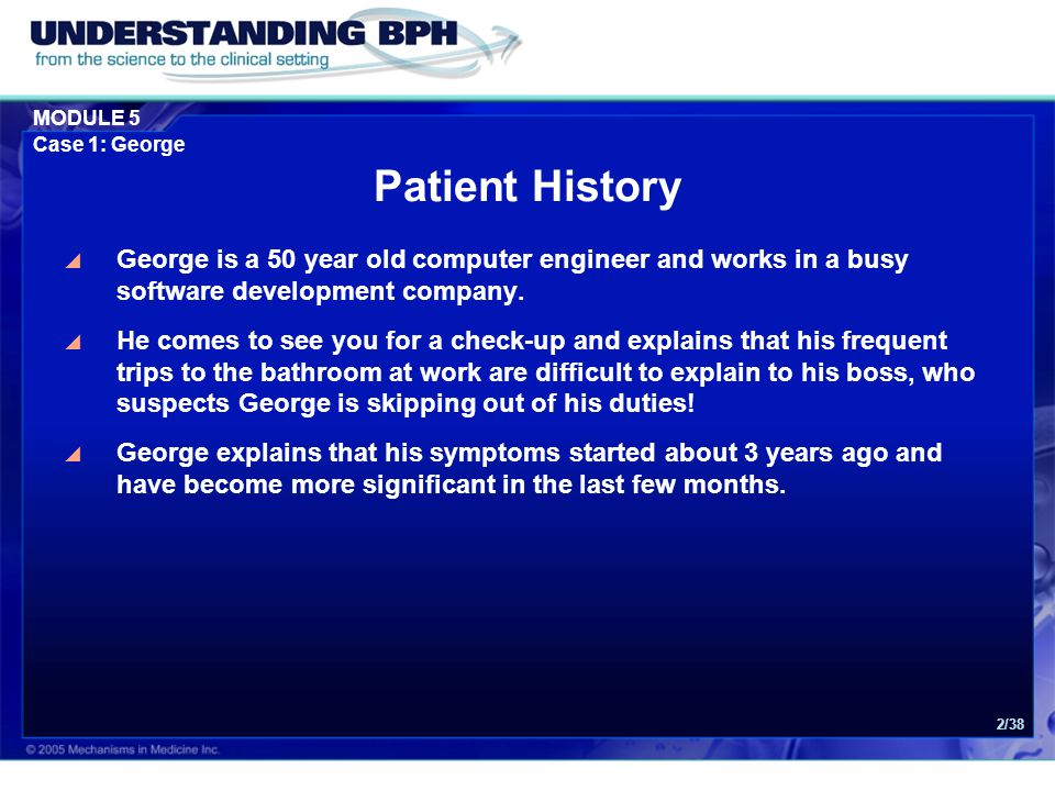Patient History George is a 50 year old computer engineer and works in a busy software development company.