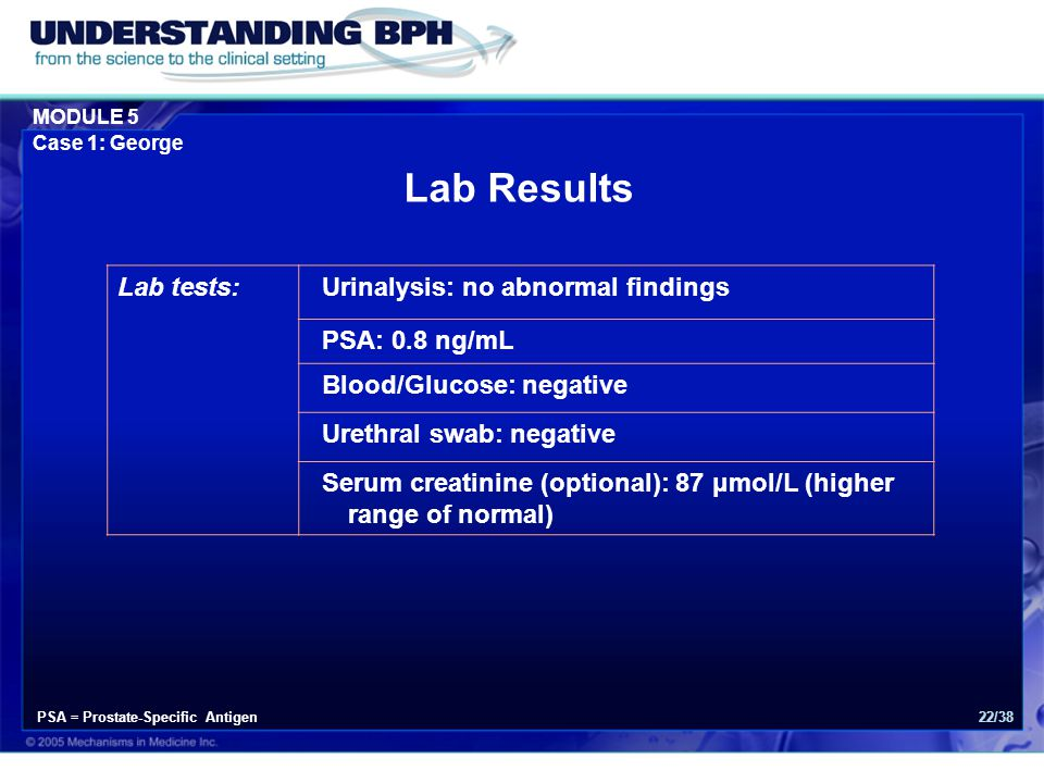 Lab Results Lab tests: Urinalysis: no abnormal findings PSA: 0.8 ng/mL