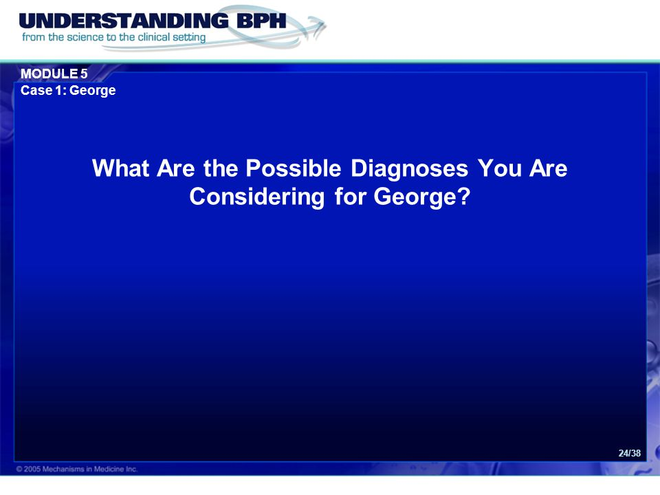 What Are the Possible Diagnoses You Are Considering for George