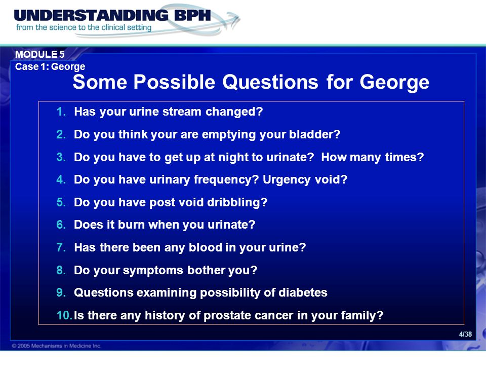 Some Possible Questions for George