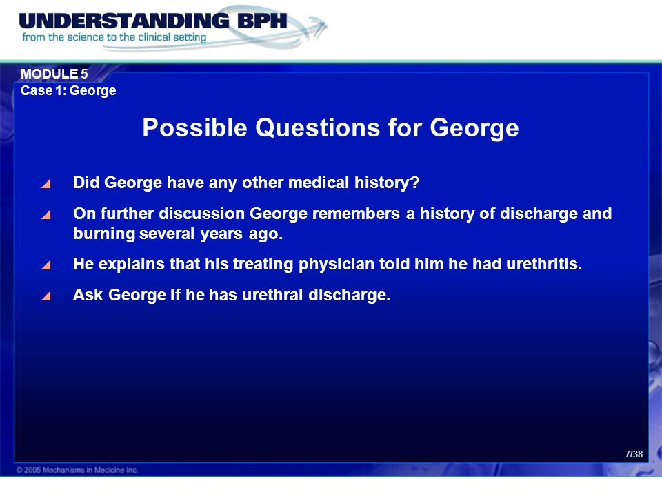 Possible Questions for George