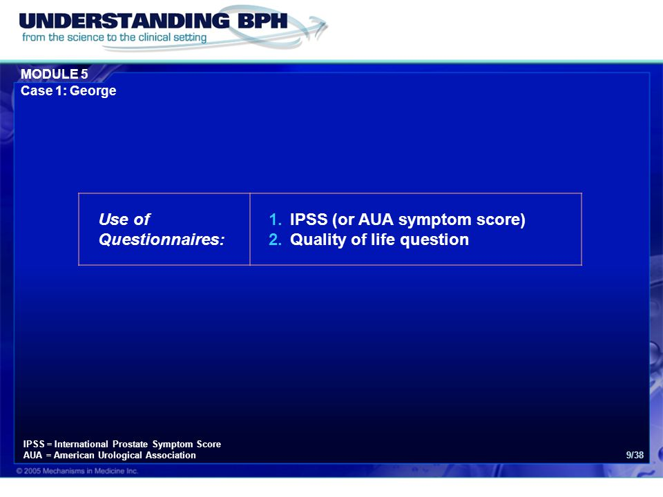 Use of Questionnaires: IPSS (or AUA symptom score)