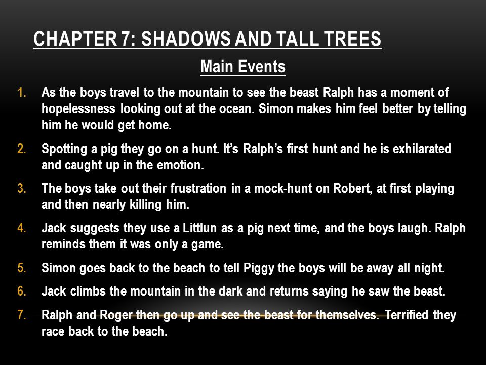 Chapter 7: Shadows and tall trees
