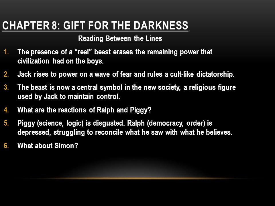 Chapter 8: gift for the darkness