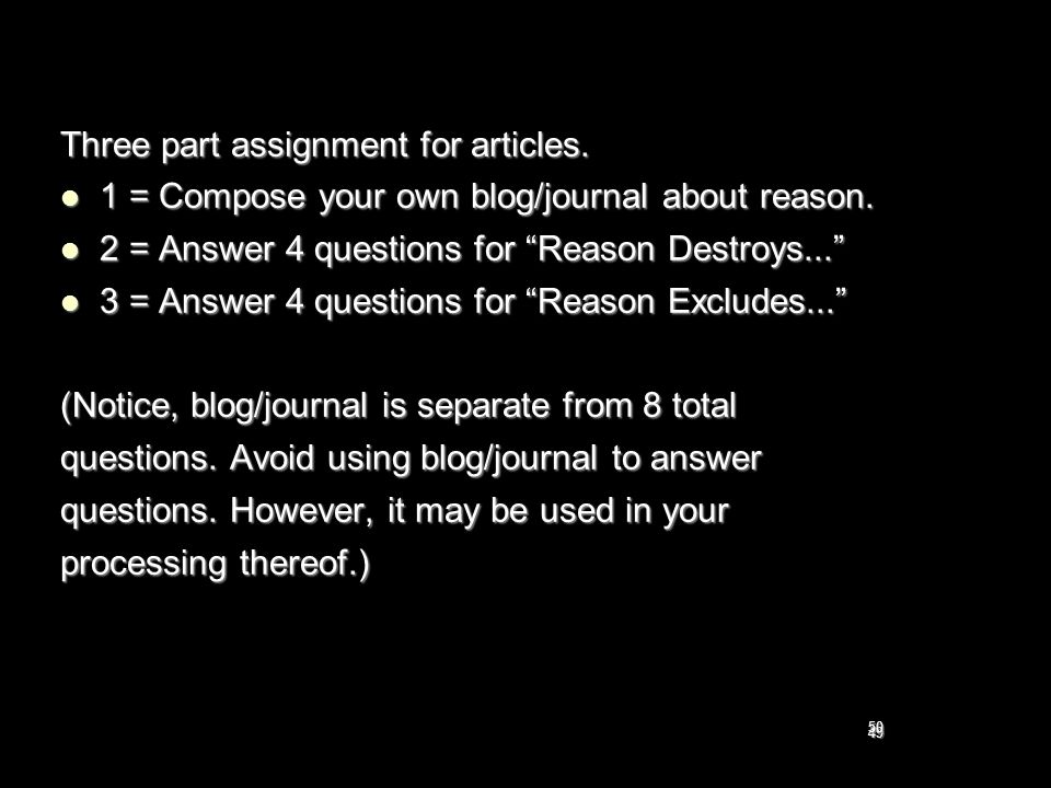 Three part assignment for articles.