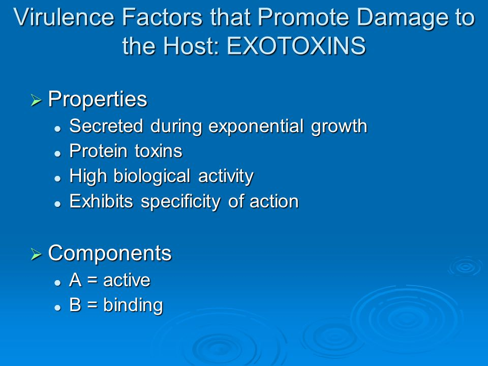 Virulence Factors that Promote Damage to the Host: EXOTOXINS