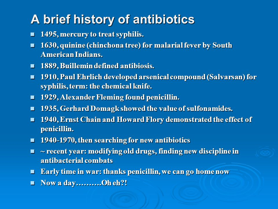A brief history of antibiotics