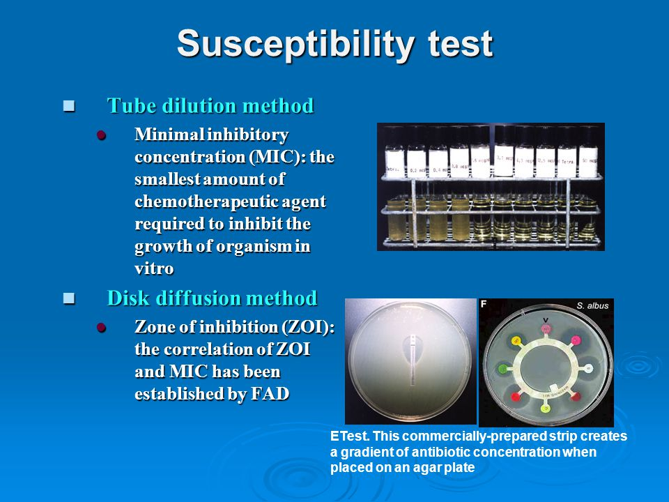 Susceptibility test Tube dilution method Disk diffusion method