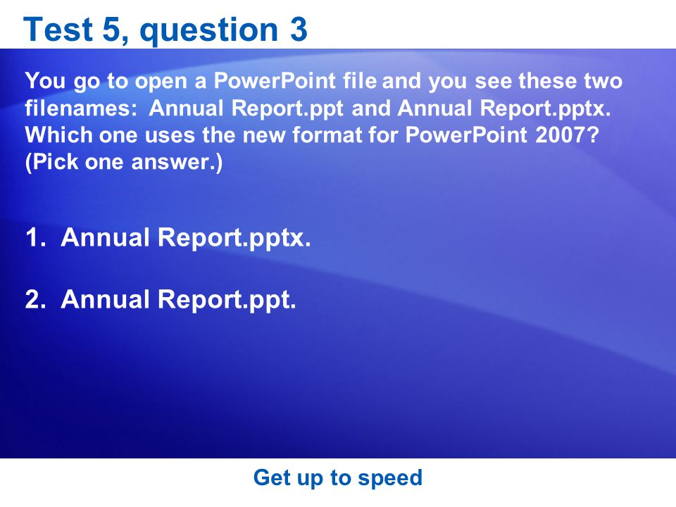 Test 5, question 3 Annual Report.pptx. Annual Report.ppt.