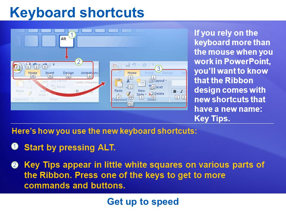 Keyboard shortcuts Get up to speed Start by pressing ALT.
