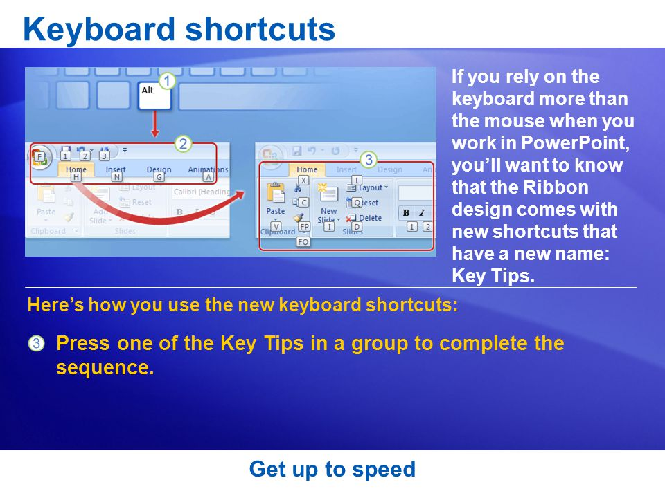 Keyboard shortcuts Get up to speed