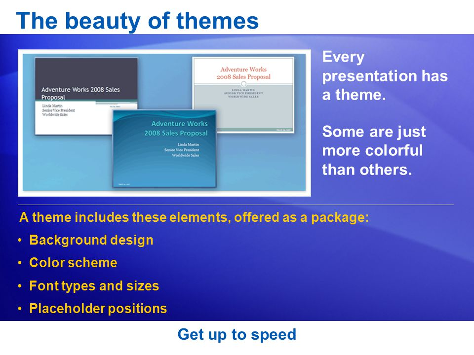 The beauty of themes Every presentation has a theme.