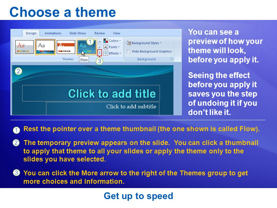 Choose a theme Get up to speed