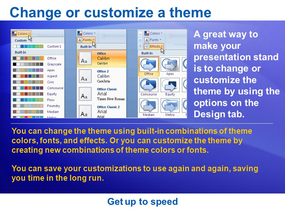 Change or customize a theme
