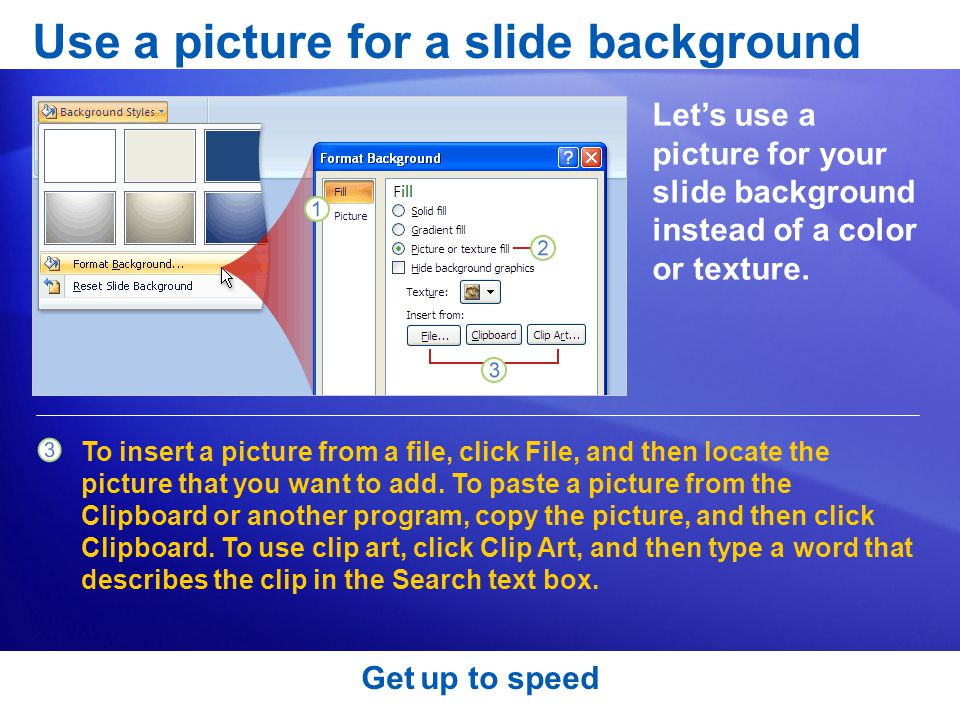 Use a picture for a slide background