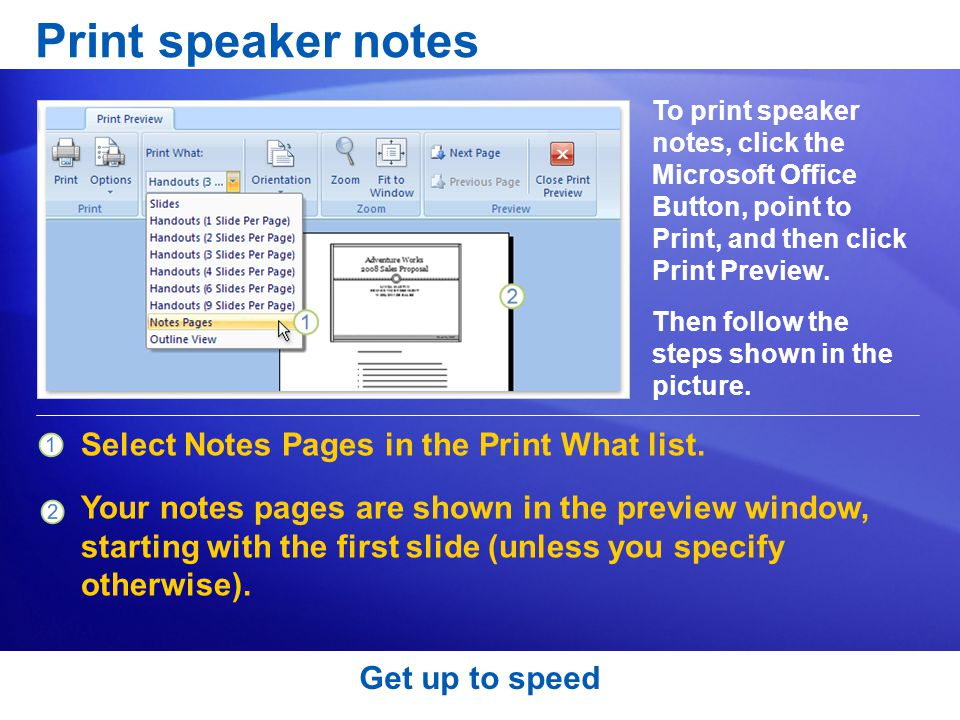 Print speaker notes Select Notes Pages in the Print What list.