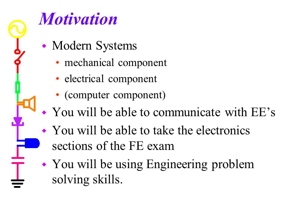 Motivation Modern Systems You will be able to communicate with EE's