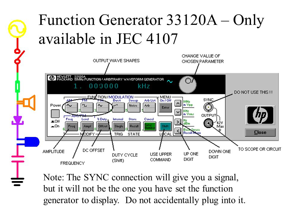 Function Generator 33120A – Only available in JEC 4107