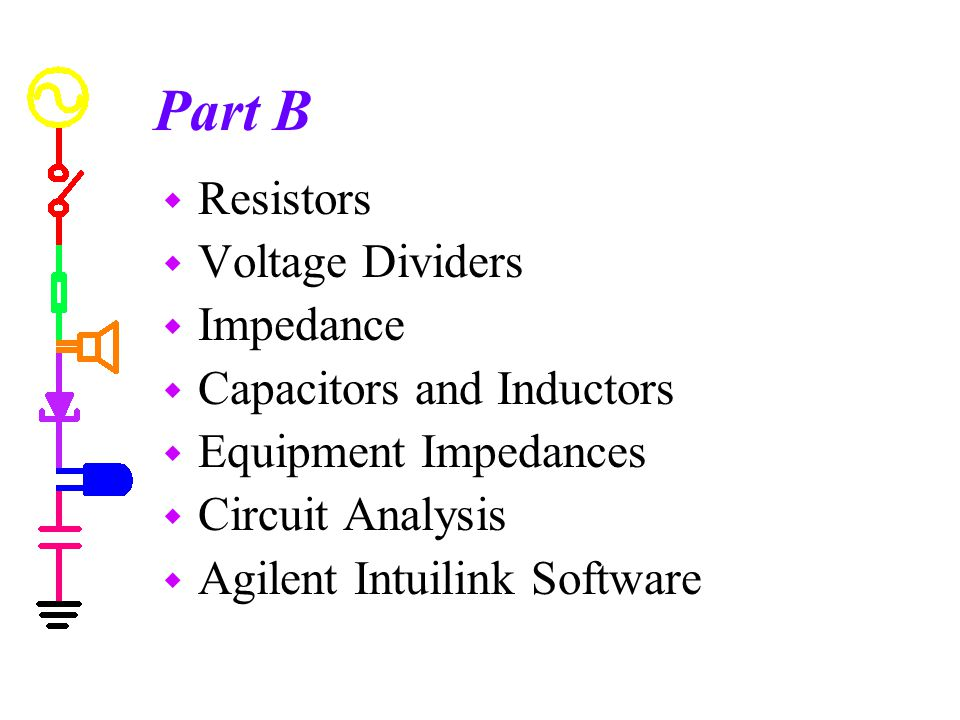Part B Resistors Voltage Dividers Impedance Capacitors and Inductors