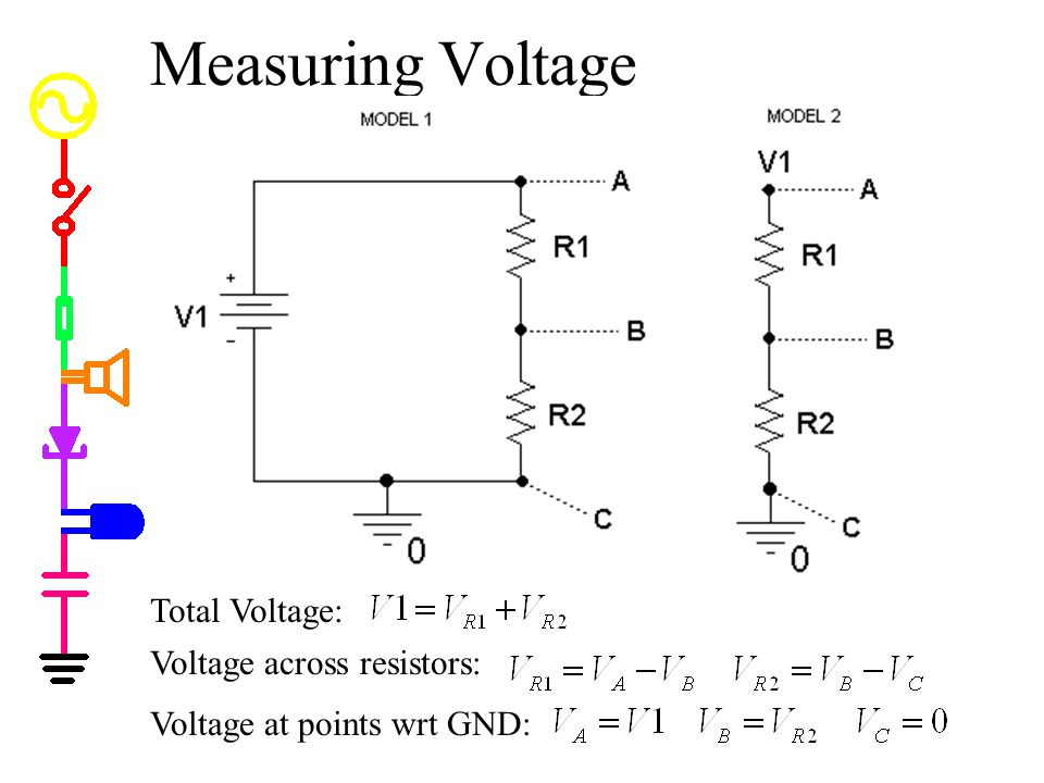 Measuring Voltage Total Voltage: Voltage across resistors: