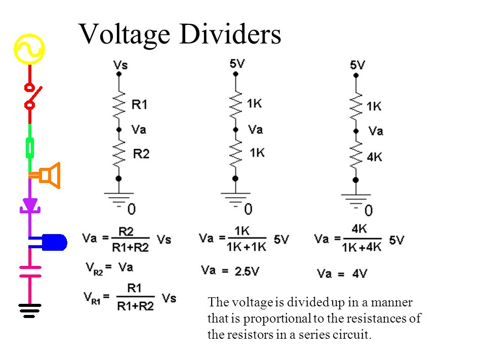 Voltage Dividers Voltage Dividers. * voltages are divided up proportionally depending upon the resistors.