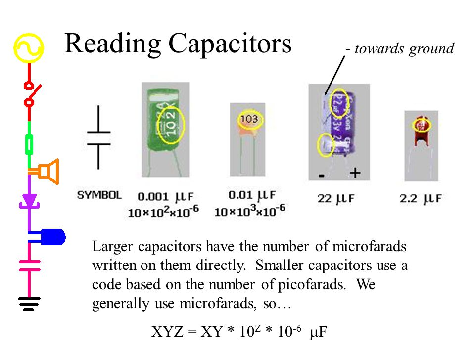 Reading Capacitors - towards ground
