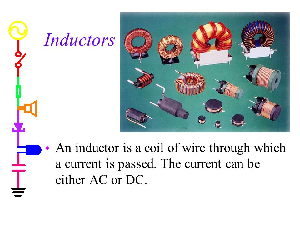 Inductors An inductor is a coil of wire through which a current is passed.