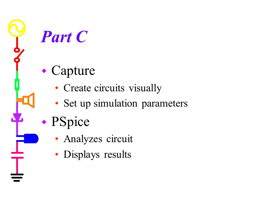 Part C Capture PSpice Create circuits visually