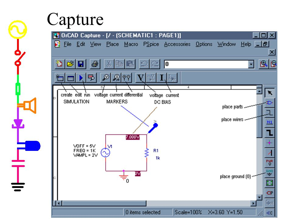 Capture Capture. * Capture is a program you can use to input a circuit schematic. * It is far more sophisticated than we need for this course.