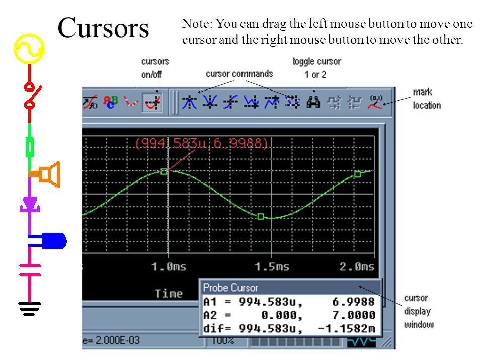 Cursors Note: You can drag the left mouse button to move one cursor and the right mouse button to move the other.