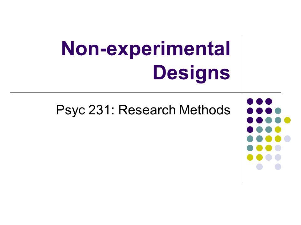 Non-experimental Designs