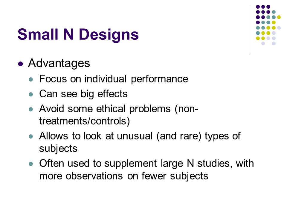 Small N Designs Advantages Focus on individual performance