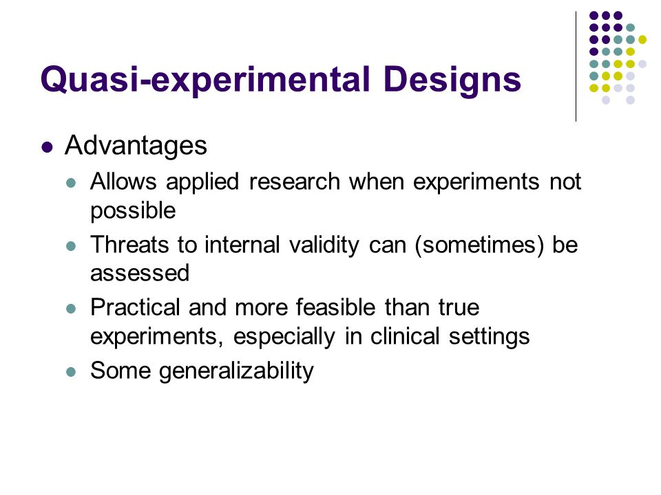 quasi experimental research vs true experiments Study variables study design elements true experimental research designs quasi-experimental designs summary references the first article in this series discussed developing an area of general interest and generating a proposed research question or hypothesis the second article discussed reviewing the relevant.