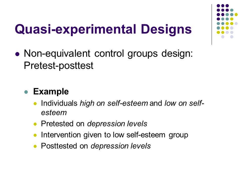 experimental design and quasi experimental design Quasi experimental design • shares many properties of designed exper-iment but lacks randomization – researcher may control assignment to trt.