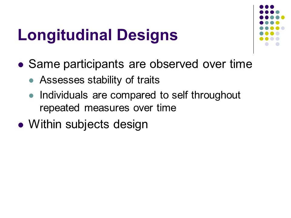 Longitudinal Designs Same participants are observed over time