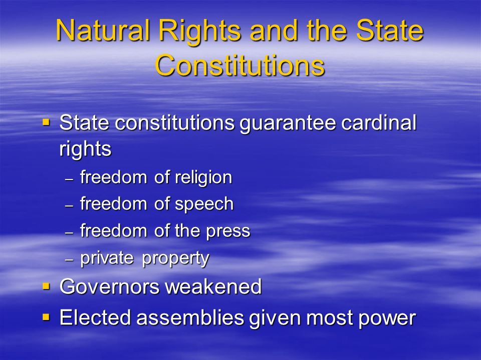 Natural Rights and the State Constitutions