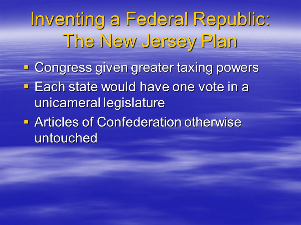 Inventing a Federal Republic: The New Jersey Plan