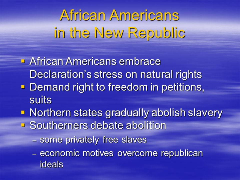 African Americans in the New Republic