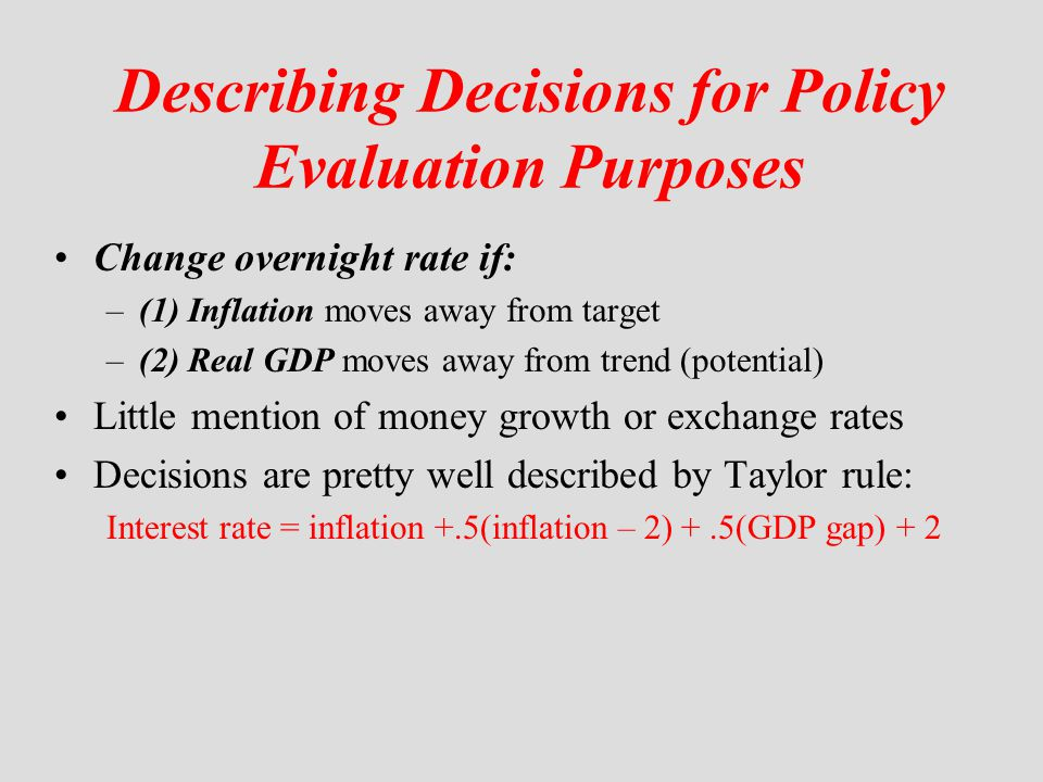 Describing Decisions for Policy Evaluation Purposes