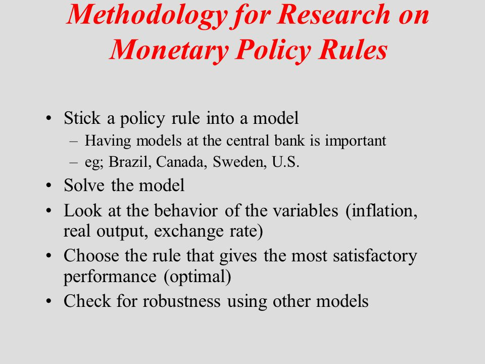 Methodology for Research on Monetary Policy Rules