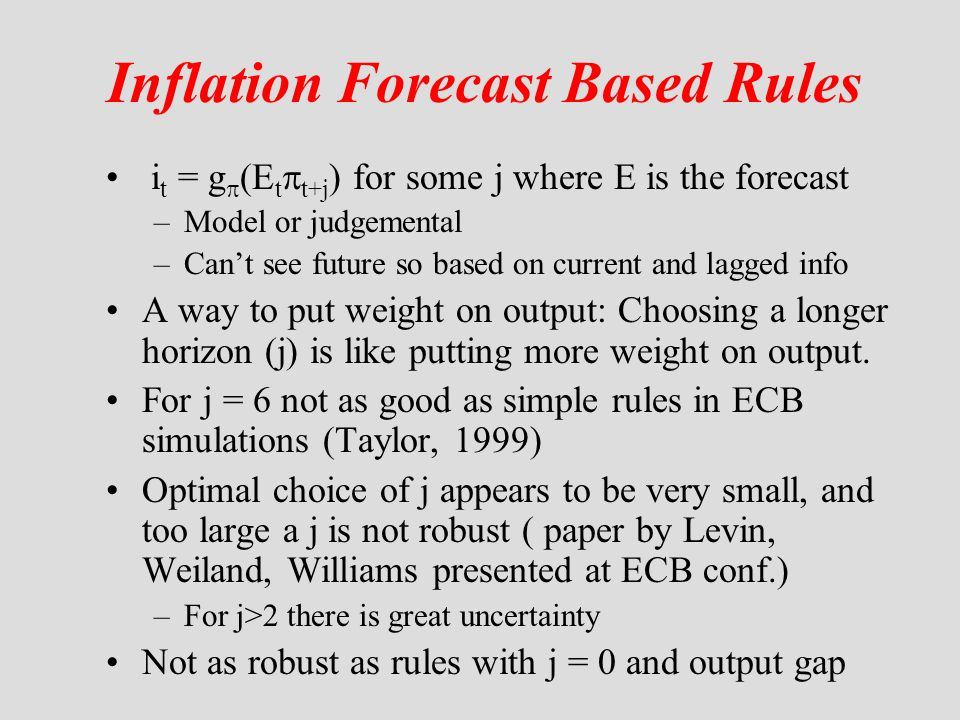 Inflation Forecast Based Rules