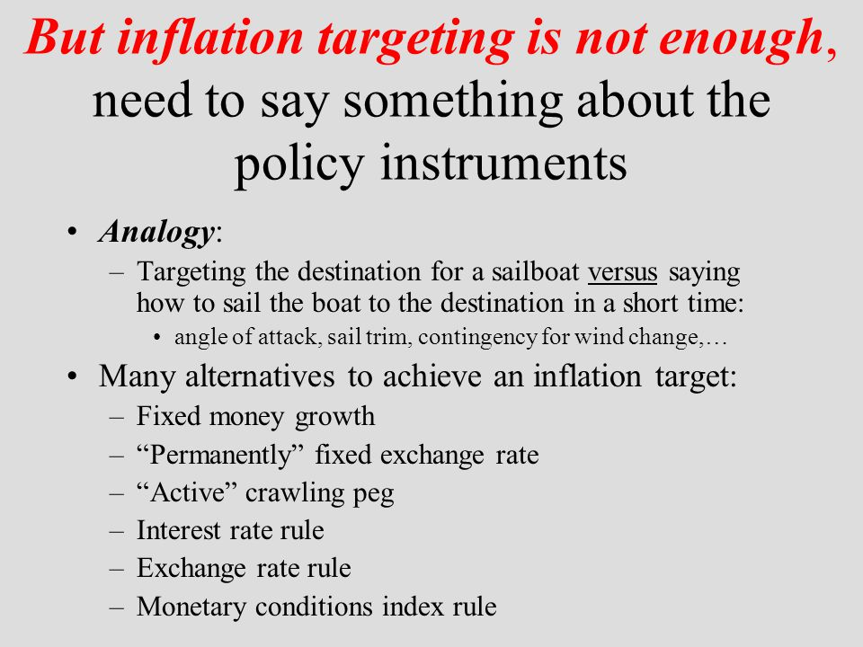 But inflation targeting is not enough, need to say something about the policy instruments