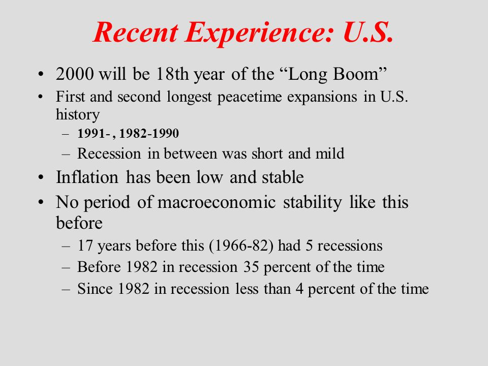 Recent Experience: U.S. 2000 will be 18th year of the Long Boom