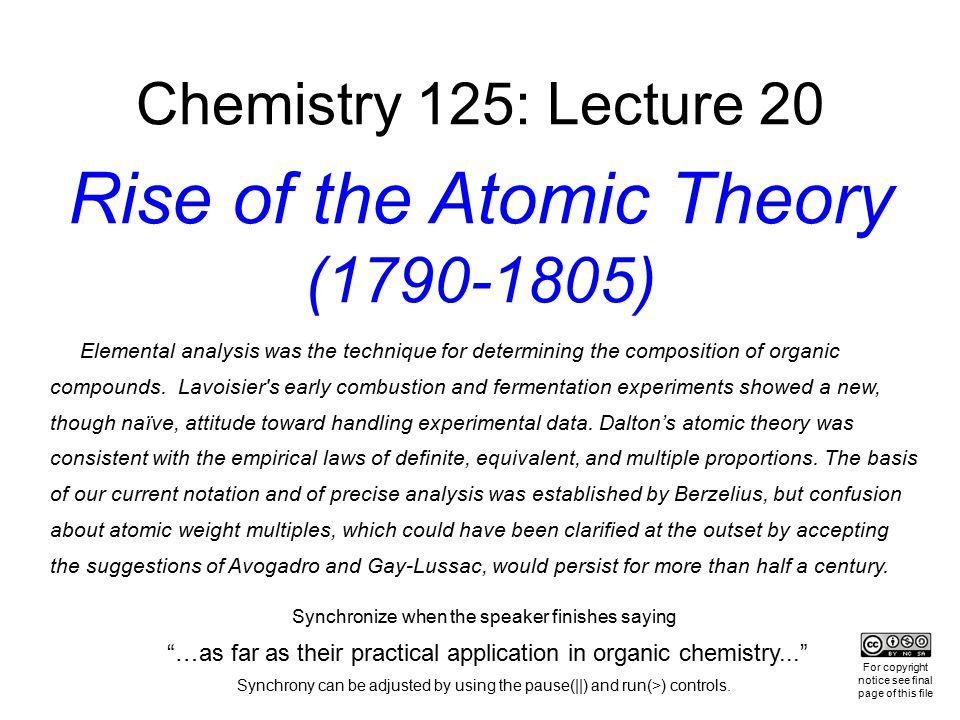 Chemistry 125: Lecture 20 Rise of the Atomic Theory (1790-1805)